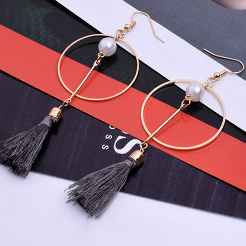 SSEHL Pendientes 3 Color de la Perla de la Borla del Pendiente del círculo Redondo Largo Pendiente de Gota joyería de Moda de Las Mujeres