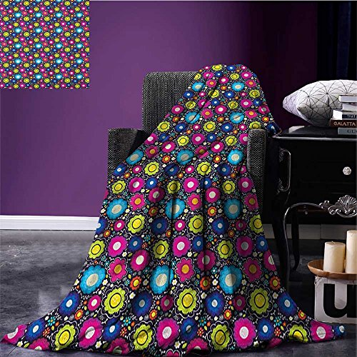 lanket Doodle Style Lively Colored Daisy Blossoms Artistic Cheerful Fun Garden for Kids beach blanket Multicolor size:51
