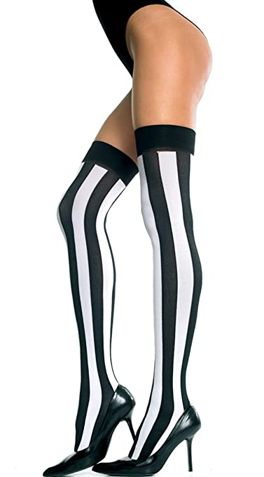 b6a7602cf5e Rubies Costume Co Women s Opaque Vertical Striped Thigh Highs Black Hot  Pink One Size Fits Most at Amazon Women s Clothing store