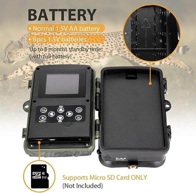 SUNTEKCAM WiFi Cam/éra de Chasse 20MP 1080P Cam/éra de Faune intervalle de Temps minuterie Cam/éra de gibier /à d/étection de Nuit sans Brillance 940nm IR LEDs /étanch/éit/é IP65 Avec carte 16G