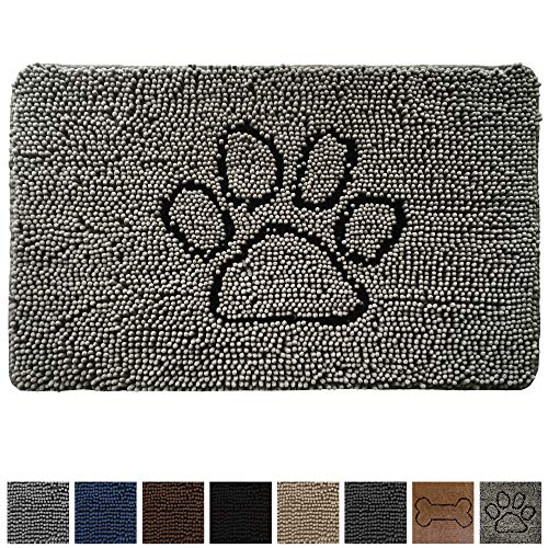 Gorilla Grip Original Shaggy Chenille Pet Area Rug Mat (44x26), Extra Soft on Cats + Dogs Paws, Pet Door Mat, Mats Machine-Washable, Perfect Rugs for Dog Crates, Under Bowls (Paw Gray) ()