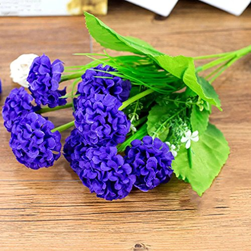 ALCYONEUS 1 Bunch 9 Head Artificial Hydrangea Silk Flower Bouquet Home Party Decor (Dark - Purple Dark Lily