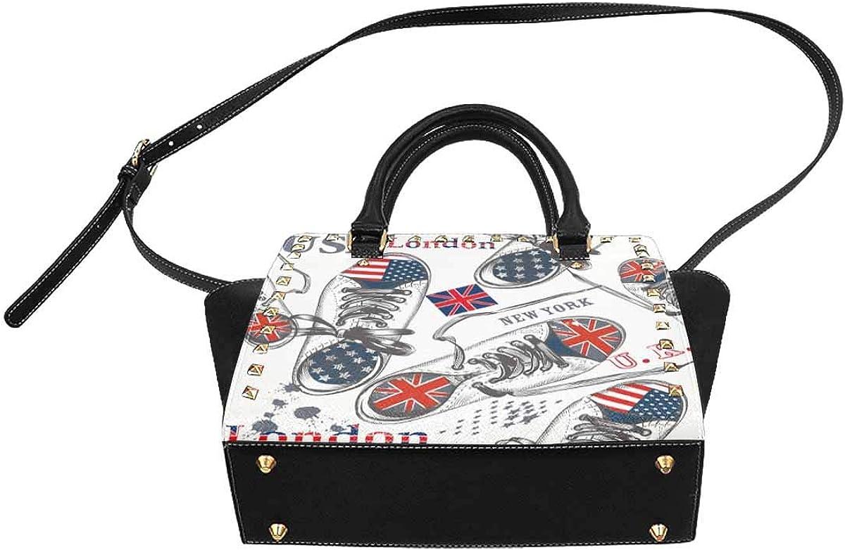 InterestPrint Womens Farm Hand Drawn Collection Rivet Shoulder Handbag Shoulder Bags
