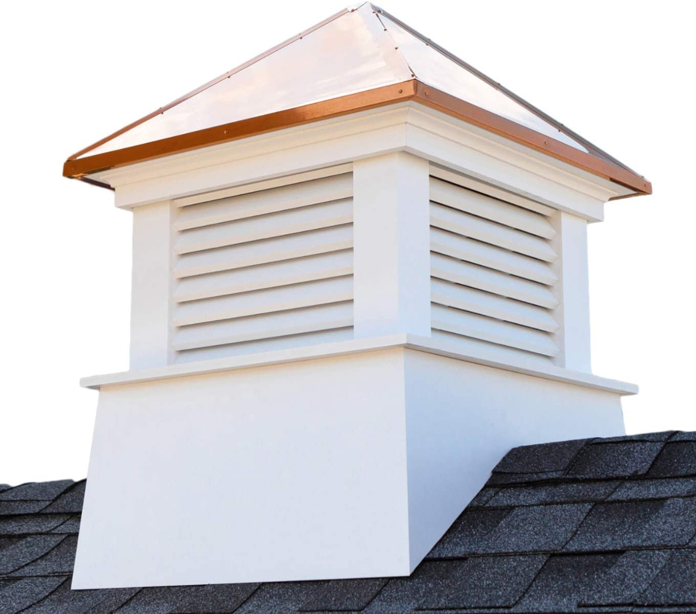 "Manchester Vinyl Cupola, Perfect Size for a Small Shed, 18"" square x 22"" high, Pure Copper Roof, Quick Ship"