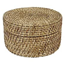 Hand Woven Round Box Decorative Multipurpose Wooden Wicker Cane Boxes With LID