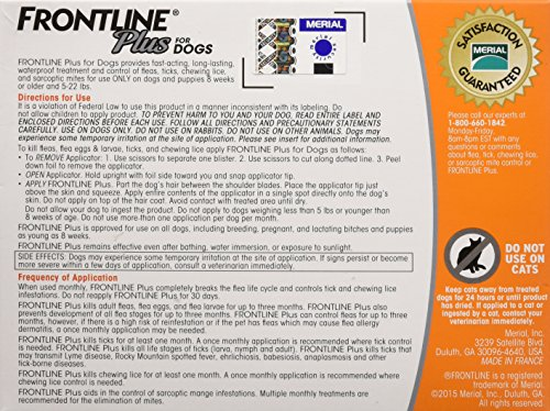 61o8KrW3j0L - Frontline Plus for Dogs Small Dog (5-22 pounds) Flea and Tick Treatment, 3 Doses