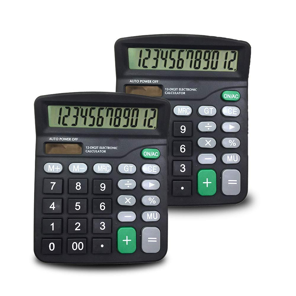 2 Packs of 12-Digit Standard Desktop Calculator, SourceTon Basic Handheld Calculator with Large LCD Display and Large Buttons, Dual Powered Office Calculator, Black