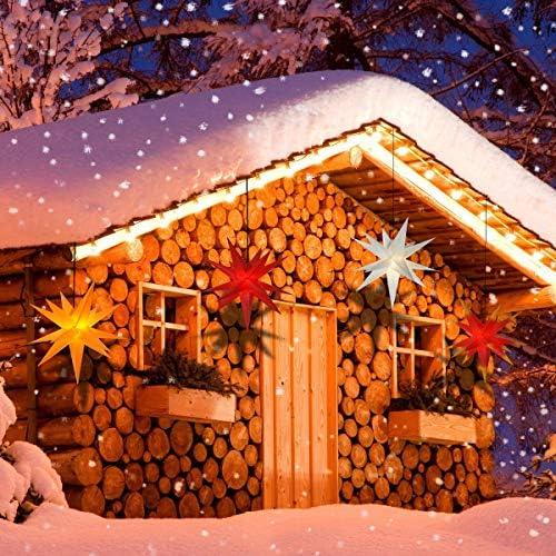 LED - Adventsstern für außen 55cm Komplettset Gartenstern 3D- Weihnachtsstern Außenstern Faltstern rot-gelb