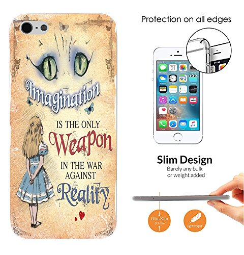 003040 - Whimsical Alice Cheshire Cat Imagination Weapon Reality Quote Design iphone 4 4S CASE Ultra Slim Light Plastic 0.3MM All Edges Protection Case Cover-Clear