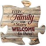 Every Family Has a Story 12 x 12 inch Wood Puzzle Piece Wall Sign Plaque