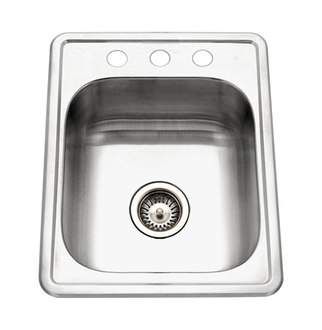 Houzer A1722-7BS-1 ADA Glowtone Topmount Stainless Steel 17'' x 22'' Sink with 3 Holes (Renewed)