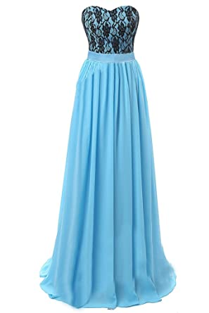 Sunvary Blue and Black Chiffon Lace Wedding Guest Bridesmaid Party Dresses Size S- Blue and