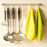 Pan Pot Hanger Hooks Rack,Ulifestar Wall Mout Stainless Steel Kitchen Utensil Organizer & Storage Lid Holder Rest,15''Rail/Rod with 7 Hanging Hooks