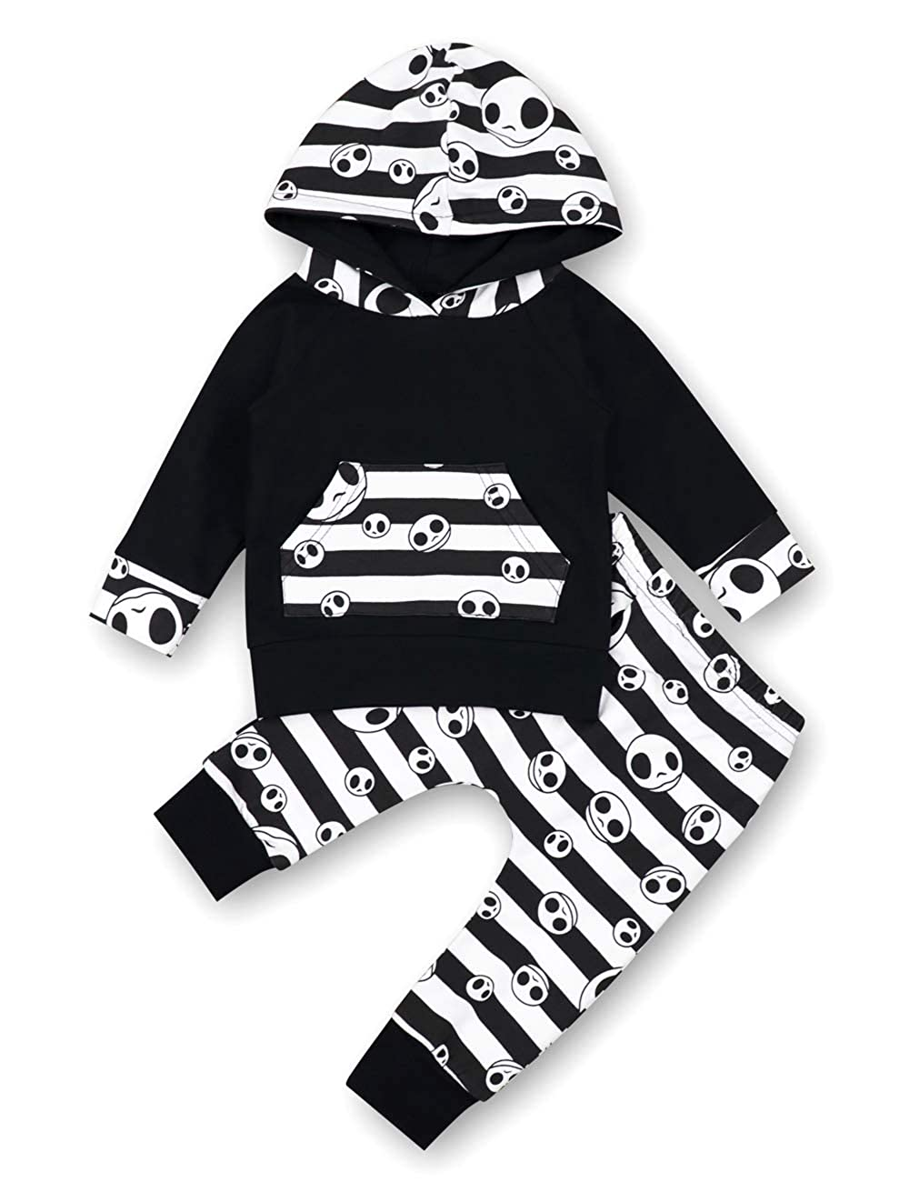 Baby boys girls clothes skull printing long sleeve hoodie top cute pants 2pcs outfit set
