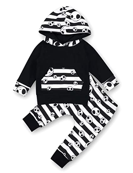 f52c69e62 Baby Boys Girls Clothes Skull Printing Long Sleeve Hoodie Top+Cute Pants  2Pcs Outfit Set