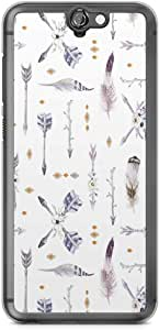HTC One A9 Transparent Edge Phone Case Boho Pattern Phone Case Grey Arrows A9 Cover with Transparent Frame