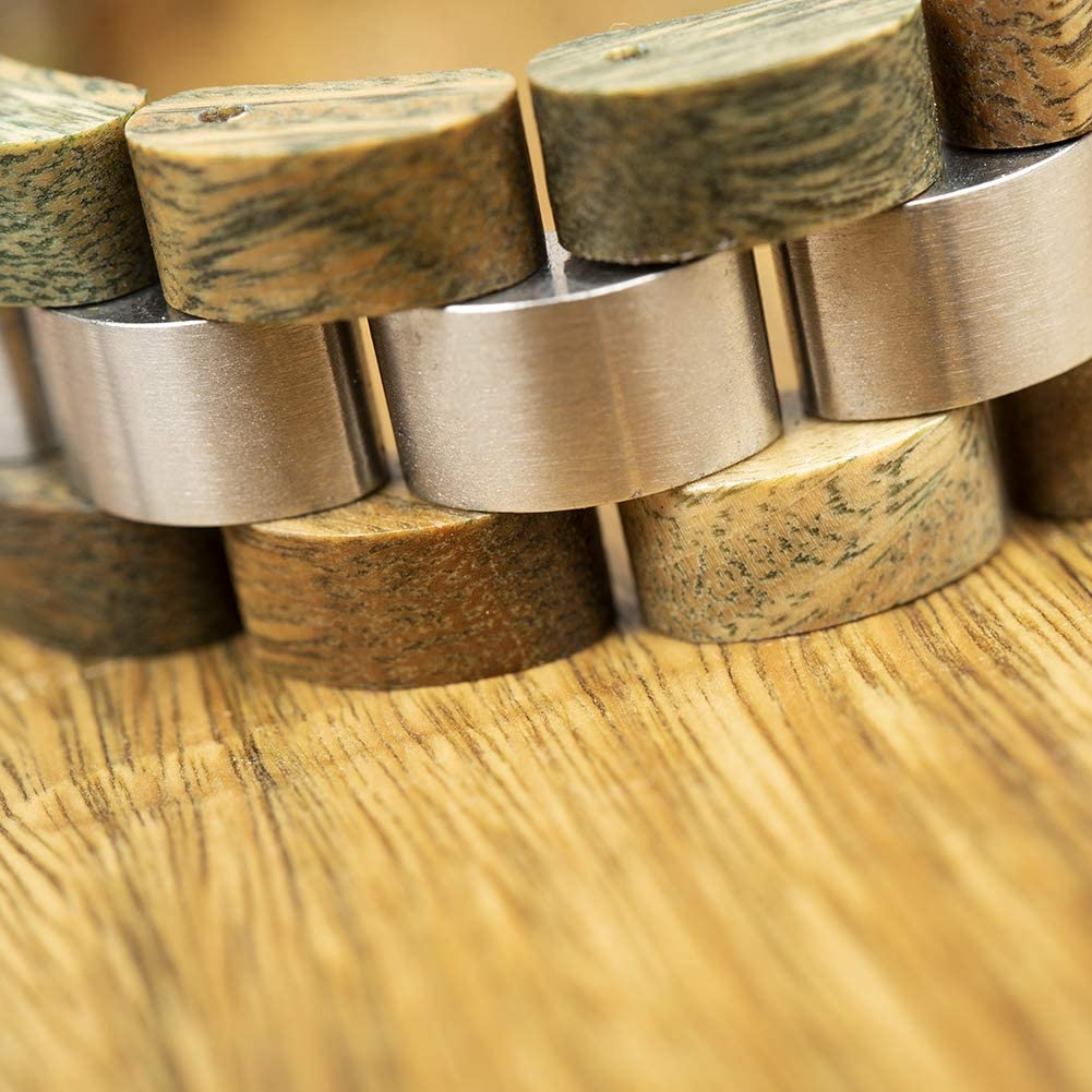 Bobo Bird Mens Wooden Bracelet Stylish Wood /& Stainless Steel Combined Wooden Bangle Jewelry Great Gift for Men