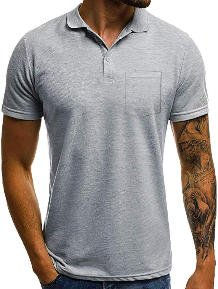F_Gotal - Polo para Hombre, Manga Corta, Manga Corta, Cuello en V, Camisa Polo Grande y Alta, Ajustada, Blusa - Gris - Medium: Amazon.es: Ropa y accesorios