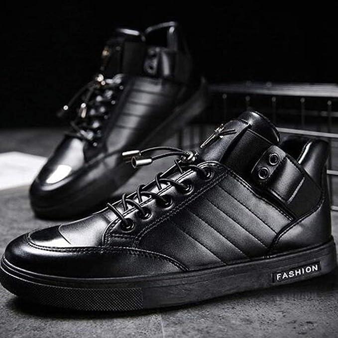 f3bc0403 DSX Zapatos de Baile de Calle para Hombre Calzado Casual Tobillo de Cuero  Manténgase Caliente Negro Pistola Blanca Color, Negro, EU39 / UK6.5 / CN40:  ...