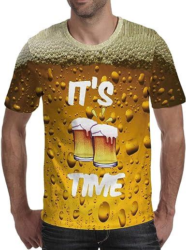 Camisa del Oktoberfest, Camisa del Traje alemán, Camiseta de Manga Corta Impresa con Cerveza 3D: Amazon.es: Ropa y accesorios