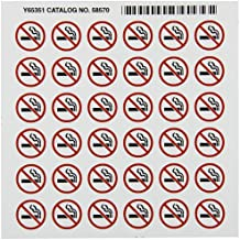 """Brady 58570 Right-To-Know Pictogram Labels , Red/Black On White,  3/4"""" Width x 5/8"""" Height,  Pictogram """"No Smoking"""" (36 Per Card,  1 Card per Package)"""