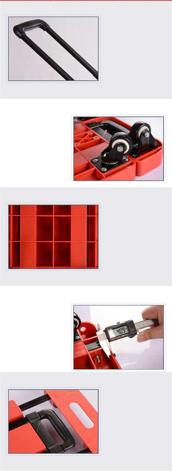 Color : Black XBSTC Pallet Truck Small Trailer Folding Flat Pull Cart Household Portable Luggage Cart