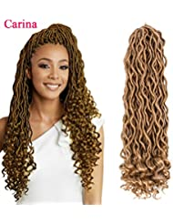 Goddess Locs Crochet Hair with Curly Ends Wavy Faux Locs Crochet Braids Synthetic.6Packs 18 inch (18inch, 27#)