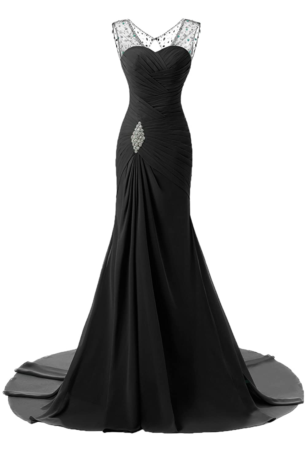 58a7a216430 Material  Chiffon Feature Bodycon Mermaid Beaded Sweep Train Pleated Sleeveless.  Fully lined with built-in bra. In order to make dress perfect on you