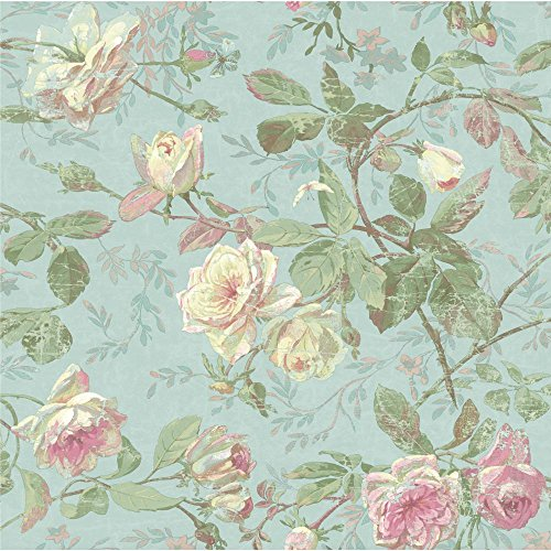 York Wallcoverings SH5501 Vintage Luxe Floral Wallpaper, Pale Blue, Green, Pink, Cream, Aqua