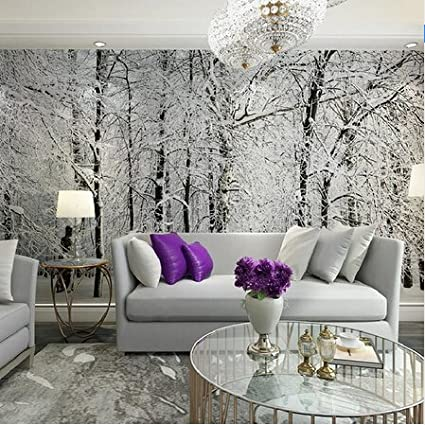300cmX250cm Large wall murals snow birch trees forest photo