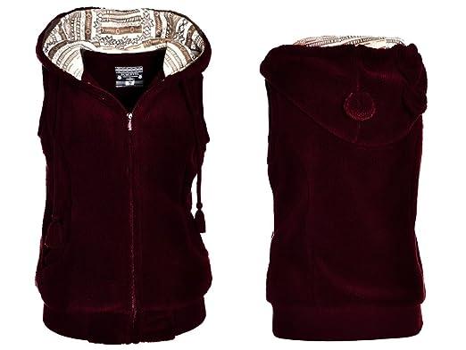 newest collection e0d62 258ca Damen Teddyfell Weste mit Kapuze und Ohren Bordeaux M (38 ...