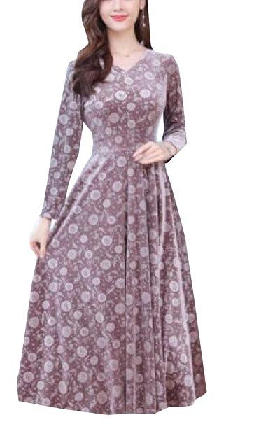 996211ce23e3 desolateness Womens Stylish V Neck Long Sleeve Velvet Swing Office Midi  Dresses at Amazon Women s Clothing store