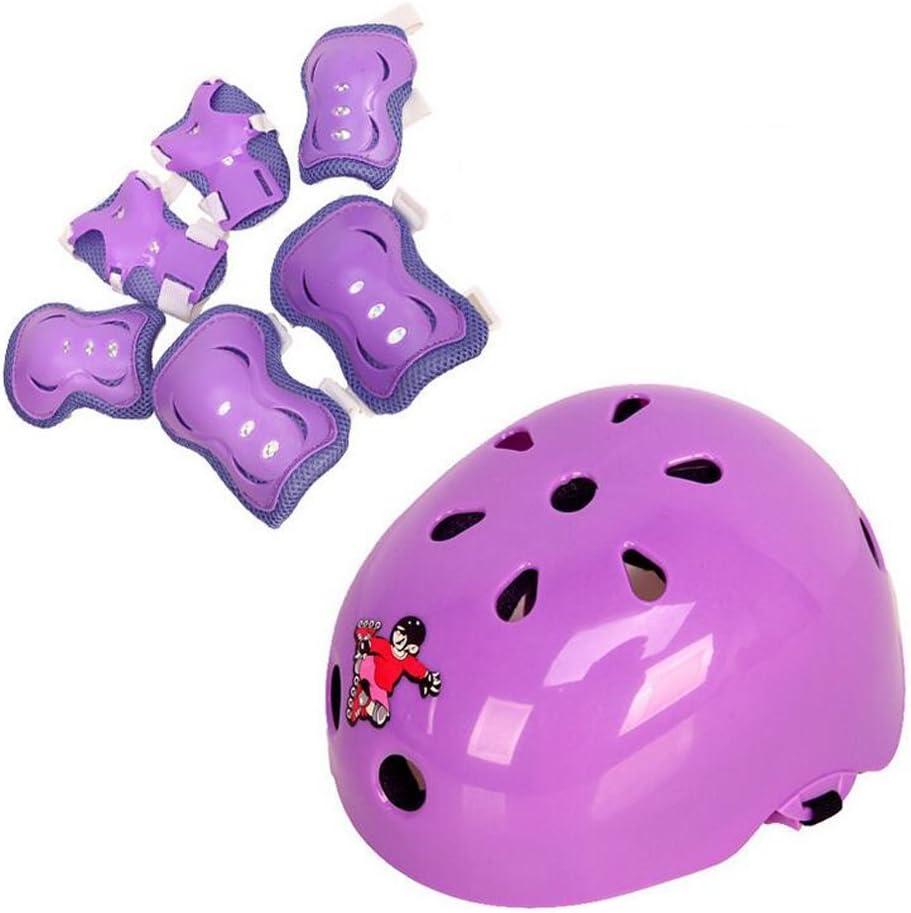 QUUPY Kinder-Schutzausr/üstung f/ür Outdoor-Sport Skateboard Helm, Knie- und Ellbogensch/ützer und Handgelenkschoner Fahrrad Scooter 7 St/ück f/ür Roller