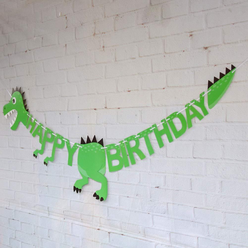 Pancarta de cumplea/ños FANCYLEO EU Dinosaurio Estilo Decoration Cumplea/ños decoraci/ón de Papel para ni/ños y Adultos