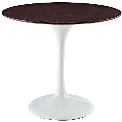 Modway 36u0026quot; Eero Saarinen Style Tulip Dining Table In White Walnut Top