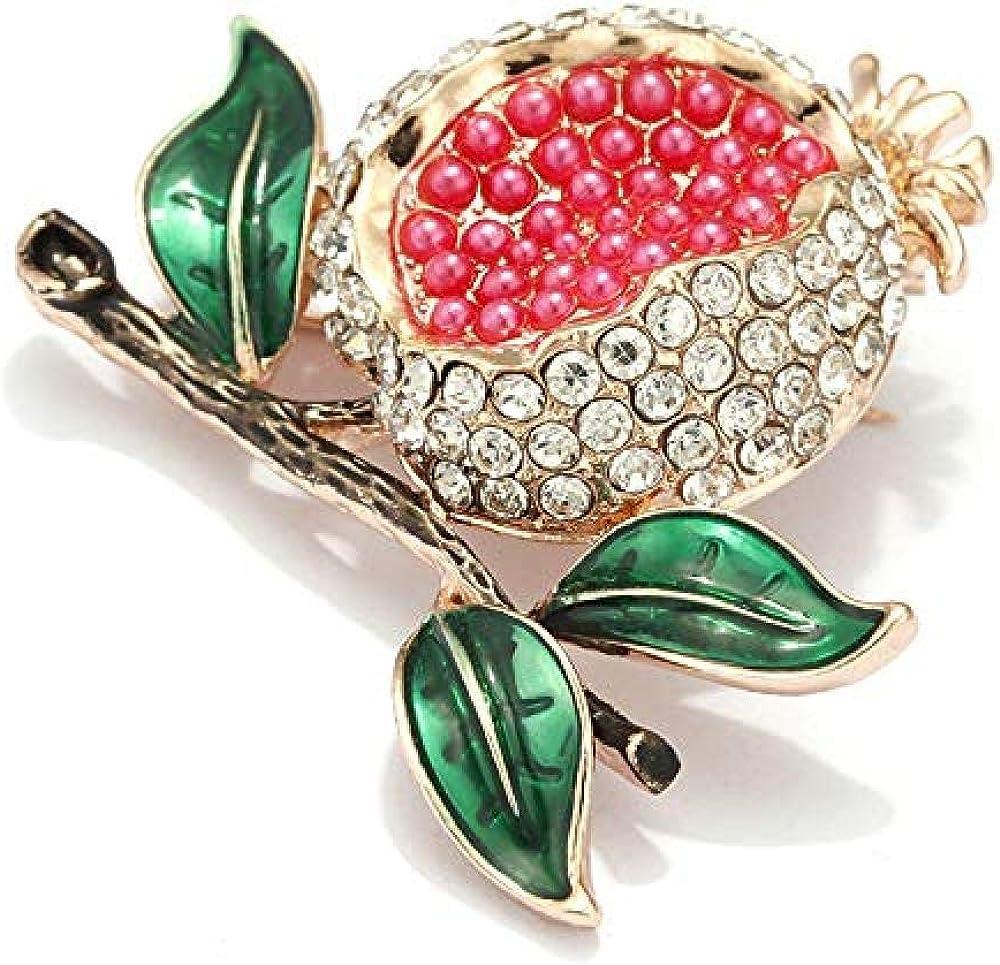 Pomegranate Brooch Fruit Shape Crystal Brooch Silk Scarf Buckle Coat Western Ornament Badge Christmas New Year Gift