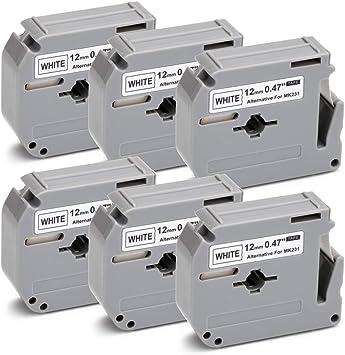 2PK 1//2/'/' Black on White Label Tape Ribbons 12MM for Brother MK231 M-K231 PT-70