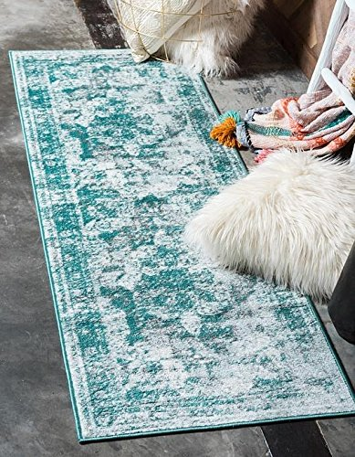 Unique Loom Sofia Collection Turquoise 2 x 7 Runner Area Rug (2' x 6' 7