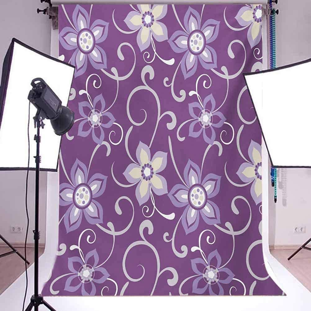 Eggplant 6.5x10 FT Photography Backdrop Beautiful Lilacs with Leaves Sticking Out of Them in Soothing Purple Background Background for Baby Shower Bridal Wedding Studio Photography Pictures
