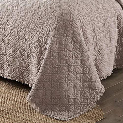 WYYAF Double Couleur Taille Bedspread Solide Grille réversible Bordure Couvertures Couvre-lit matelassée Couvre-lit et 2 Pillow Shams, Gray, 230 * 250cm