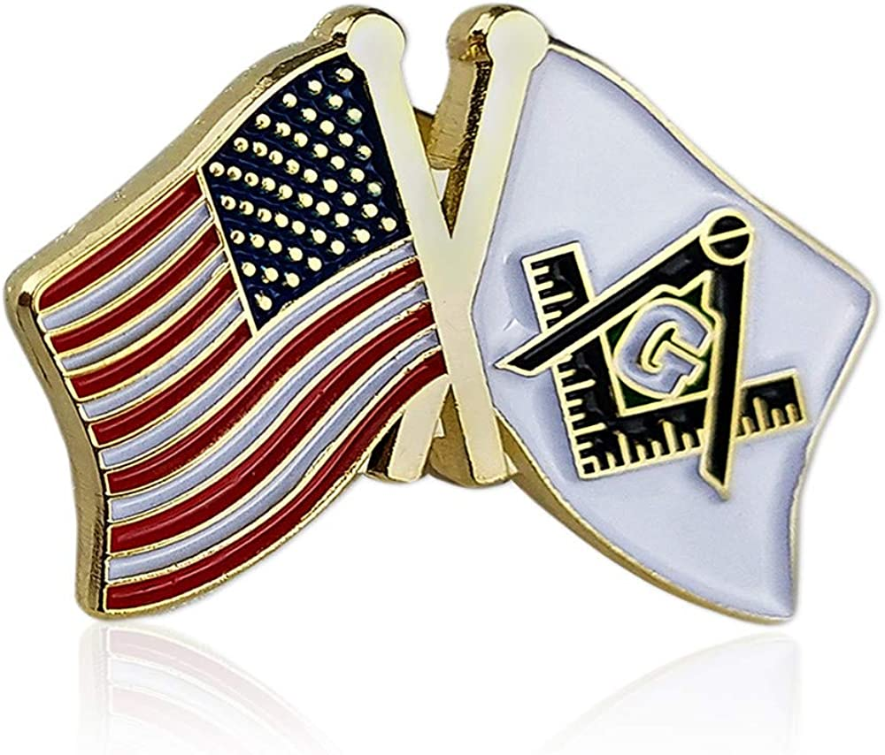 Masonic US Flag and Square /& Compass Lapel Pins