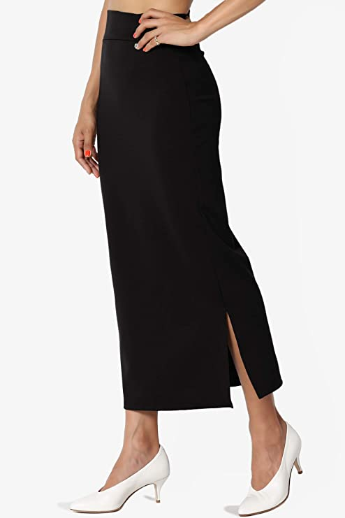8062f6f694026e TheMogan S~3XL High Waist Stretch Ponte Knit Mid Calf/Knee Length Pencil  Skirt at Amazon Women's Clothing store: