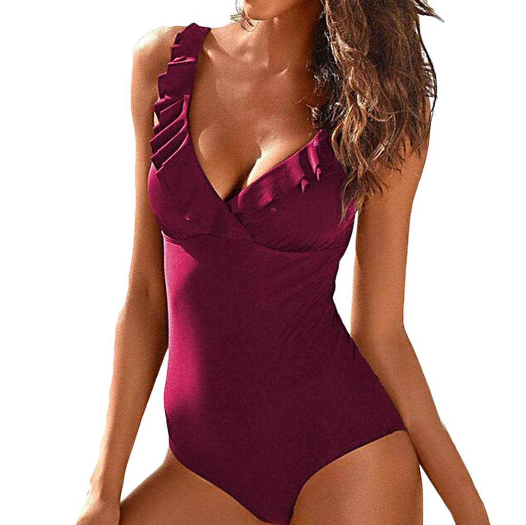 8bfe025823f74 Amazon.com: Women Push Up Monokini Bikini, Leadmall Tankini Heart Attack  Falbala One Piece Swimsuits With Cut Out Bottom Bathing Suit (L, Wine):  Beauty