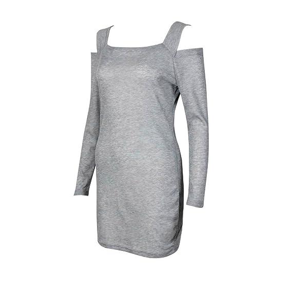 Vestido de Otoño Invierno Mujer, ZODOF Mujeres Casual Manga Larga suéteres Jersey Chaqueta Cuello Redondo de Punto Prendas de Punto Mini Vestido ...