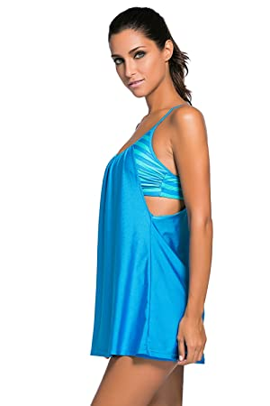 c1fe57949 Amazon.com  Lucklovell Sexy Women Flowing Swim Dress Layered 1pc Tankini Top  ((US 4-6)S