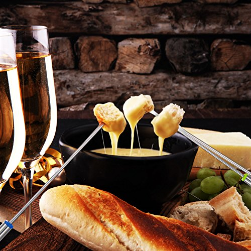 TecUnite 18 Pieces Stainless Steel Fondue Forks with Heat Resistant Handle for Cheese Chocolate Fondue Roast Marshmallows Meat, 9.5 Inch by TecUnite (Image #5)