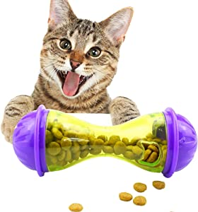 Luck Dawn Cat Food Dispenser Treat Ball Interactive Toy IQ Treat Dispensing Toy Slow Feeder Automatic Spinning Cat Mouse Toy Tumbler Roly-Poly Toy for Cats Kitten