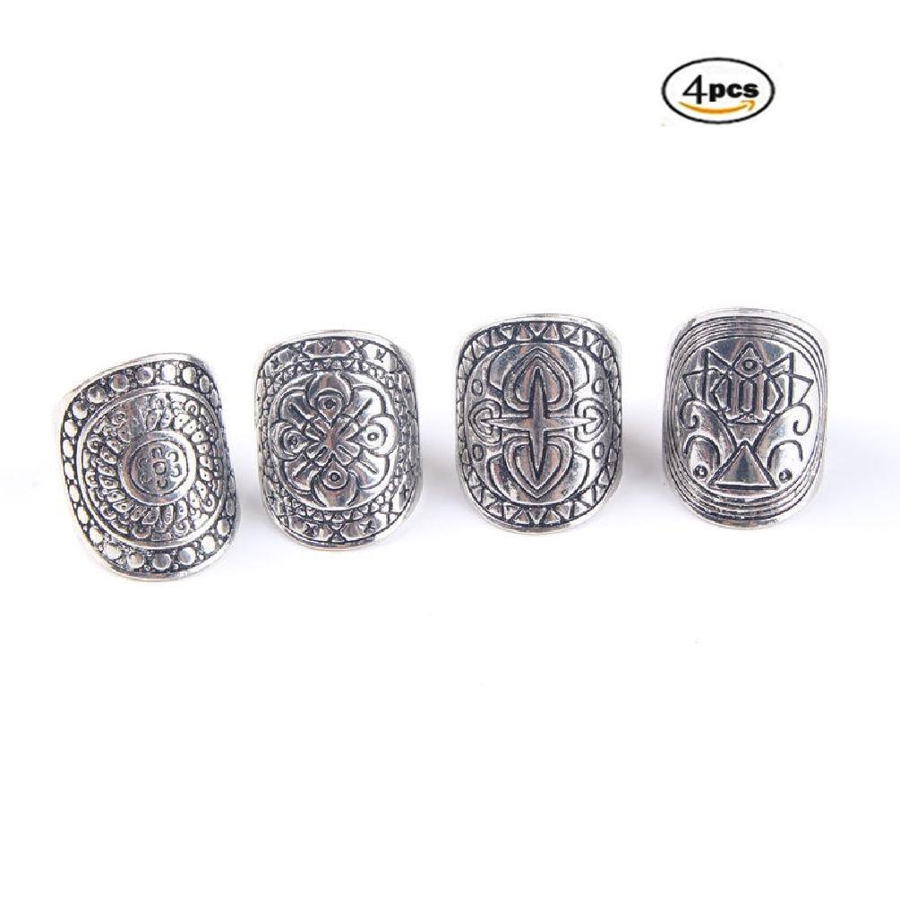 Letter Love 4PCS Vintage Gypsy Boho Carved Totem Antique Silver Plated Midi Rings Set