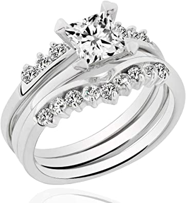 Two Tone Cubic Zirconia Womens 925 Sterling Silver Princess Cut Ring Sizes 5-10
