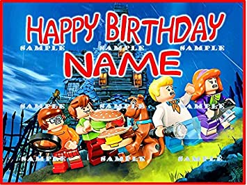 Amazon lego scooby doo personalized edible birthday party lego scooby doo personalized edible birthday party cake topper decoration premium frosting sheets filmwisefo
